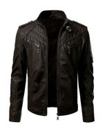 CNELL New Men's Motorcycle Fashion Leather Jacket with Arm Pocket (JLMF01)