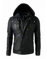 CNELL New Men's Motorcycle Fashion Leather Hoodie Jacket - Detachable Hood (JLMF02)