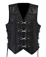 Motorcycle Leather Vest with 4 Easy Clips for Men (V176)