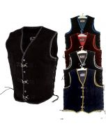 Black Suede Club Vest with Clips for Men (V180)