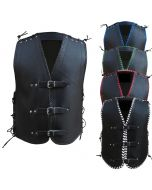 CNELL BLACK THICK LEATHER VEST - 3.0mm (V181)