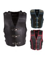 Thick Motorcycle Leather Vest with Buckles and Clips for Men (V184)
