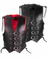 Bikers Thick Leather Vest with Side and Shoulder Lace (V190)