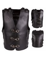 Men's 4MM Thick Motorcycle Leather Vest with Clips (V192)