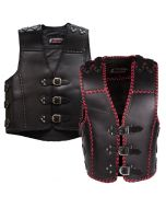 Men's Thick Leather Vest with Buckles (V193)