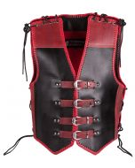 CNELL 4MM Thick Black and Red Leather Vest for Bikers (V194)