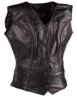 (V198) CNELL lady motorcycle leather vest