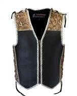 4MM Thick Bikers' Leather Vest with Front Zip and Side Lace (V202)