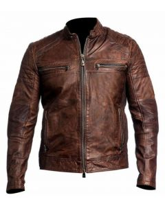 New Men's Motorcycle Fashion Leather Jacket - JLMF03