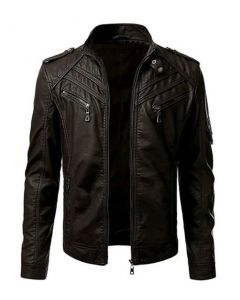 Men's Motorcycle Fashion Leather Jacket with Arm Pocket (JLMF01)