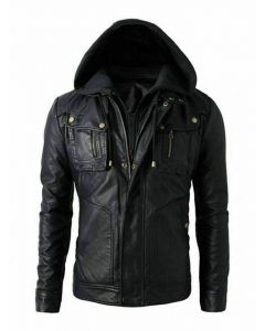 New Men's Motorcycle Fashion Leather Hoodie Jacket - Detach Hood - JLMF02