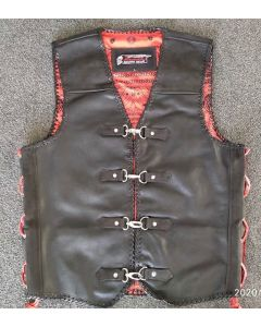1.3 MM CNELL Motorcycle Leather Vest - Black - XL