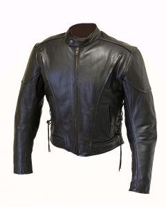 CNELL Leather Jacket with Air Vents and Side Lace (JLM0101)