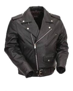 CNELL Men's Brando Leather  Jacket with Belt (JLM0104)