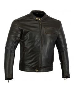 CNELL Men's Thick Cowhide Leather Jacket with Black Stripes (JLMBS)