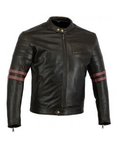 CNELL Cafe Twinstripe Leather Jacket Oxblood (JLMRS)