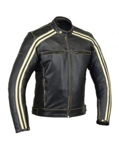 CNELL Men's Thick Cowhide Leather Jacket with White Stripes (JLMWS)