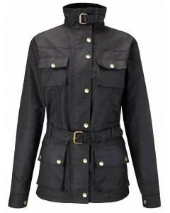(OJF) CNELL BIKER Oil Skin Jacket for Lady BLACK