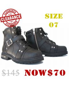 Lace Up Short Road Boot Buckle & Side Zip(SM009)