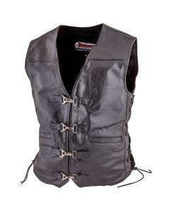 (V067) Metal clasp Leather Motorcycle Vest