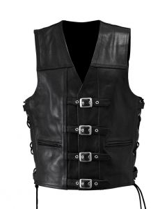 Leather Motorcycle Vest with Buckles (V068)