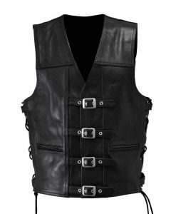 Thin Motorcycle Leather Vest with Buckles New Style for Men (V068)