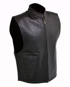 (V069) Men's Zip Front Leather Vest