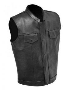 Basic Motorcycle Leather Vest for Men (V172)