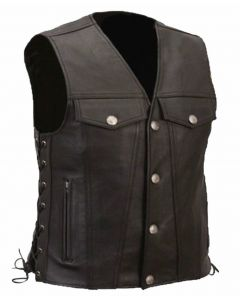 (V173) Leather Motorcycle Vest