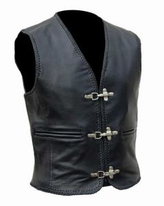 Motorcycle Leather Vest with Hook Closure (V174)