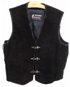 CNELL BLACK SUEDE CLUB VEST WITH BUCKLE & BUTTON(V174 Suede )