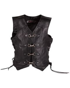(V175) Leather Vest with 4 easy clips and braiding
