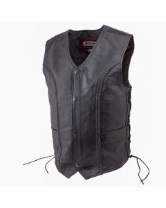 (V177) Men's Stylish Braided Leather Motorcycle Vest - 5XL