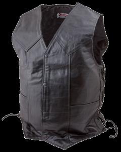 (V178) Side Lace Leather Motorcycle Biker Vest