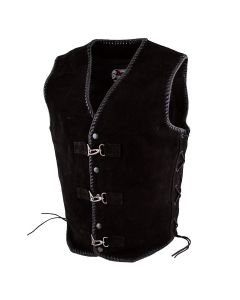 CNELL BLACK SUEDE CLUB VEST WITH BUCKLE & BUTTON(V180)