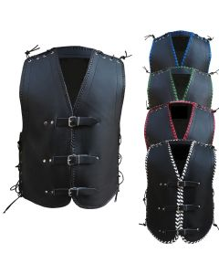 (V181) CNELL BLACK THICK LEATHER VEST (3.0mm)