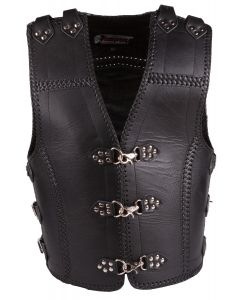(V184) CNELL Black Metal Claps Club Thick Leather Vest