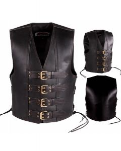 4MM Thick Leather Vest with Double Hole Straps (V191)