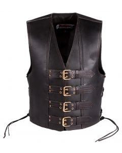 (V191) 4MM CNELL MOTORCYCLE LEATHER VEST
