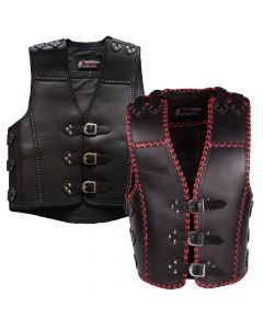 (V193) 4MM CNELL MOTORCYCLE LEATHER VEST