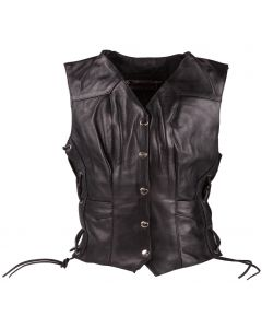 (V199) CNELL lady motorcycle leather vest
