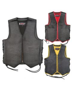 (V201) 4MM CNELL MOTORCYCLE LEATHER VEST
