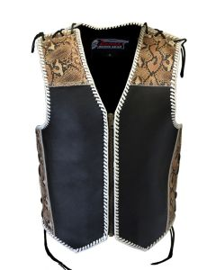 CNELL 4MM Motorcycle Leather Vest with Snake Print Pattern (V202)