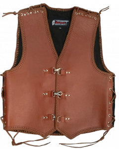 Thick Leather Vest (4mm Brown Braiding) - V204