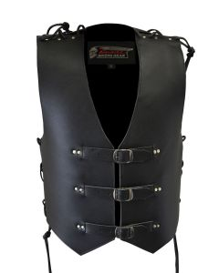 4MM Thick Leather Vest  with Buckles and Side Lace for Men (V205)