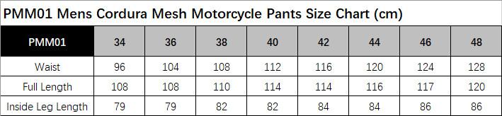 PMM01 Size Chart