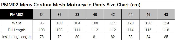 PMM02 Size Chart