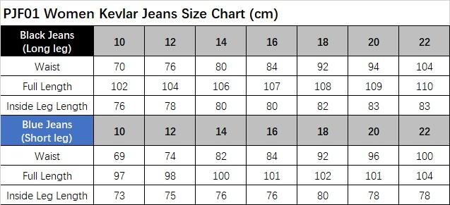 PJF01 Size Chart